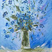 Картины и панно ручной работы. Ярмарка Мастеров - ручная работа Незабудка - небесная голубка - картина маслом. Handmade.