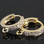 Материалы для творчества handmade. Livemaster - original item Earrings for earrings with cubic Zirconia art. 4-6A, brass with gold plated. Handmade.