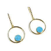 Украшения handmade. Livemaster - original item Agate Druse earrings, blue earrings, ring Earrings with stones. Handmade.