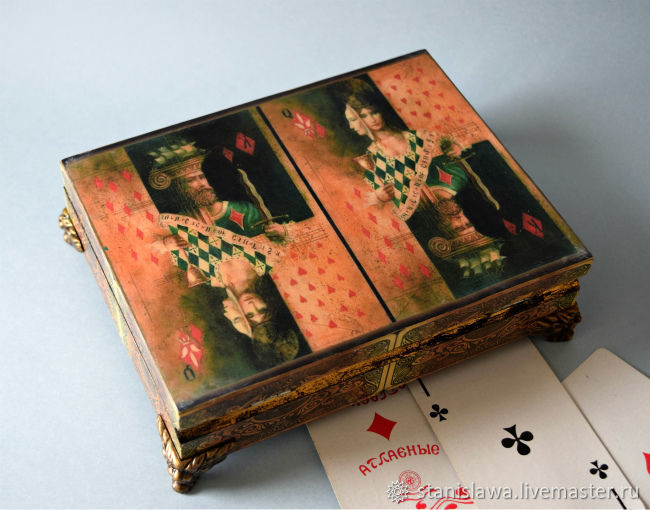 Box. Box for cards. Box of cards with two compartments. Milena decor. Fair Masters. Shop.
