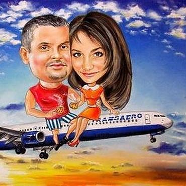 """Картины и панно ручной работы. Ярмарка Мастеров - ручная работа Шарж """"Вдвоём на самолёте"""". Handmade."""