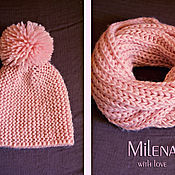 Аксессуары handmade. Livemaster - original item Set knitted Pink Pearl. Knitted hat, knitted scarf - snud.. Handmade.