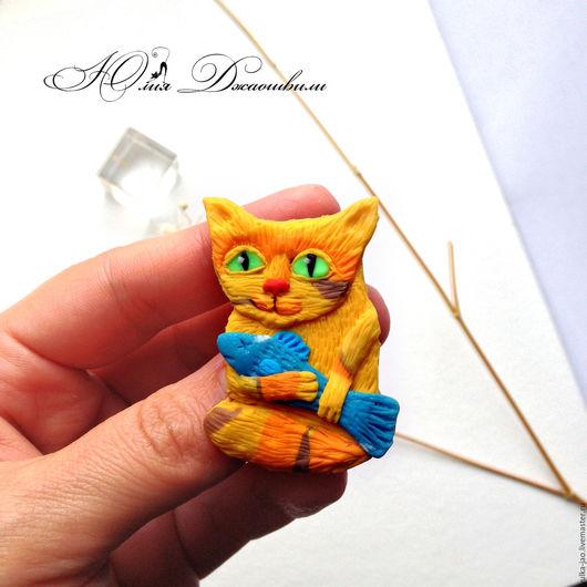 Рыжий кот, котик с рыбкой, брошь котик, купить брошь, брошь купить, изготовление брошей, магазин брошей, брошь ручной работы, бирюзовый, полосатый кот, оригинальная брошь, милая брошь, нежная брошь