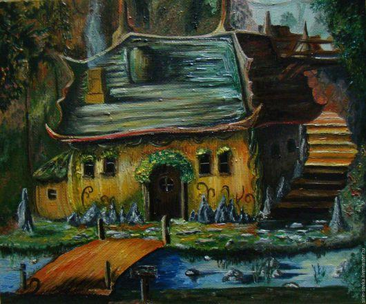 Пейзаж ручной работы. Ярмарка Мастеров - ручная работа. Купить Дома у гнома. Handmade. Масляная живопись, холст на подрамнике