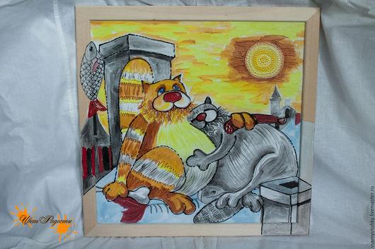 Животные ручной работы. Ярмарка Мастеров - ручная работа. Купить Картина на стекле Коты, романтика на крыше. Handmade. Оранжевый