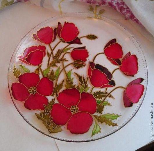 """Тарелки ручной работы. Ярмарка Мастеров - ручная работа. Купить Тарелка """"Маки"""". Handmade. Ярко-красный, тарелка стеклянная"""