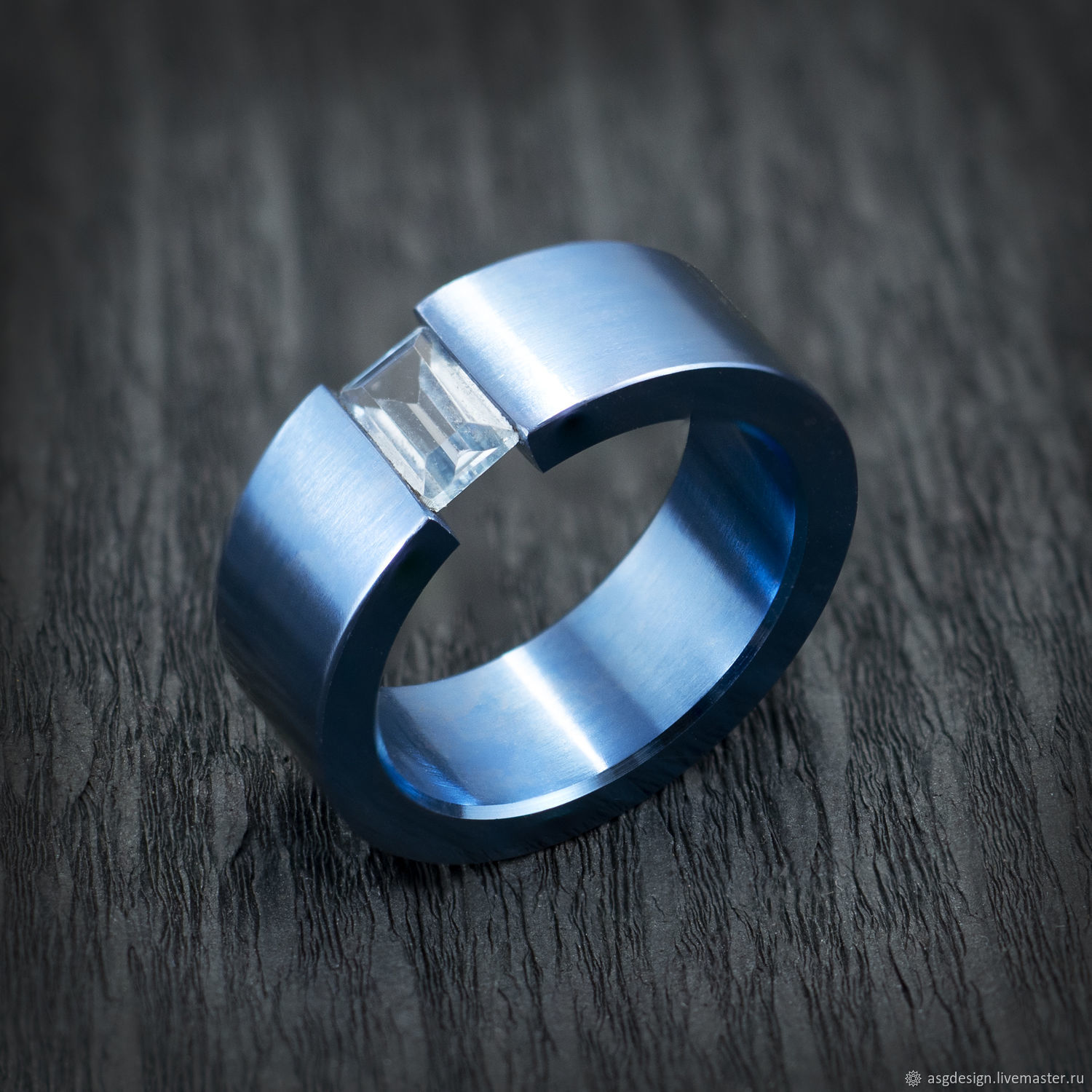 Titanium ring blue with blue Topaz, Rings, Moscow,  Фото №1