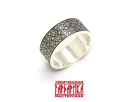 """Кольцо """"Аврора"""" с свастическим обережным орнаментом из белого золота"""