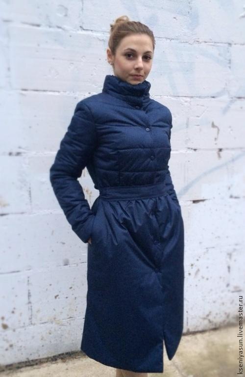 Верхняя одежда ручной работы. Ярмарка Мастеров - ручная работа. Купить Пуховое пальто Dark Ocean. Handmade. Тёмно-синий