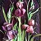 """Картины цветов ручной работы. Ярмарка Мастеров - ручная работа. Купить Картина """"Ирисы"""" из листьев кукурузы. Handmade. Тёмно-фиолетовый"""