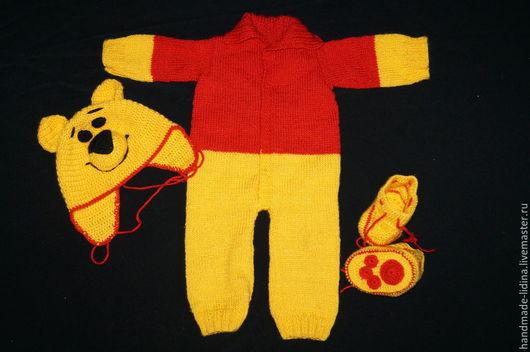 Для новорожденных, ручной работы. Ярмарка Мастеров - ручная работа. Купить комплект Винни Пух. Handmade. Разноцветный, комбез, для детей