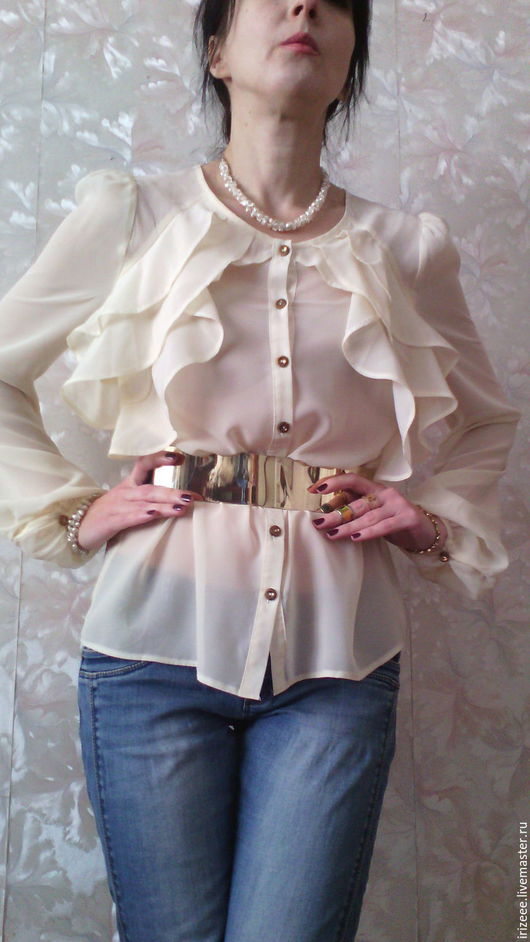 Блузки ручной работы. Ярмарка Мастеров - ручная работа. Купить блузка белая шифоновая Vouge -2. Handmade. Белый
