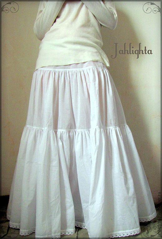 Юбки ручной работы. Ярмарка Мастеров - ручная работа. Купить Нижняя юбка из тончайшего хлопка. Handmade. Белый, нижнее белье