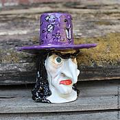 """Для дома и интерьера ручной работы. Ярмарка Мастеров - ручная работа Подсвечник керамический """"Ведьма в фиолетовой шляпе"""". Handmade."""