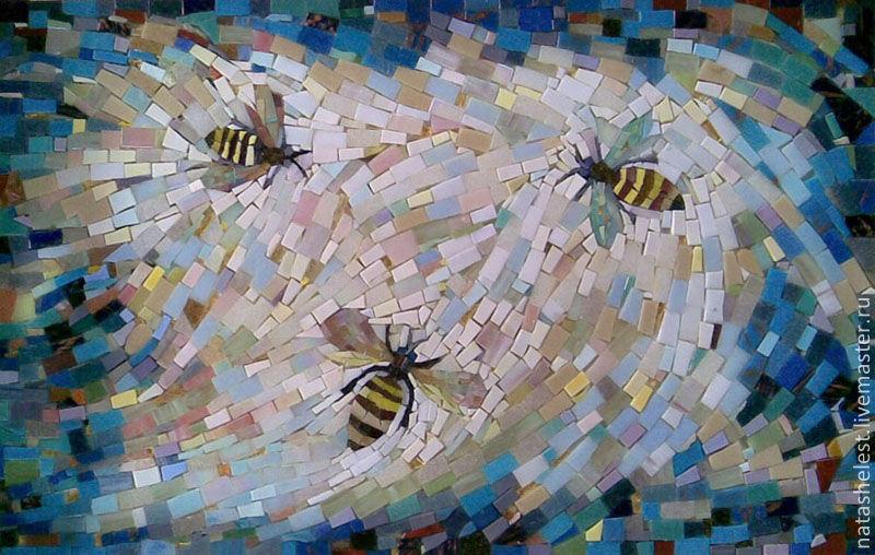 Мозаика `Пчелы`. Поднос для чаепития. Наталья Шестакова - дизайнер, декоратор.
