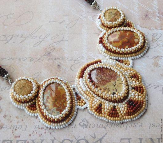 Колье, бусы ручной работы. Ярмарка Мастеров - ручная работа. Купить Колье из бисера и яшмы - Золотая Осень. Handmade. Рыжий