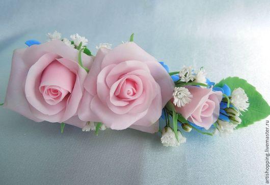 Украшения для цветов ручной работы. Ярмарка Мастеров - ручная работа. Купить Зажим с розами и гортензией. Холодный фарфор.. Handmade.