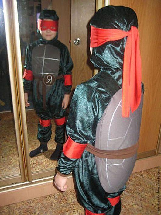 Детские карнавальные костюмы ручной работы. Ярмарка Мастеров - ручная работа. Купить Ниндзя Рафаэль. Handmade. Тёмно-зелёный, однотонный