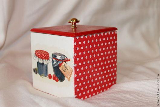 """Корзины, коробы ручной работы. Ярмарка Мастеров - ручная работа. Купить Короб """"Баночки варенья"""". Handmade. Ярко-красный, коробочка"""