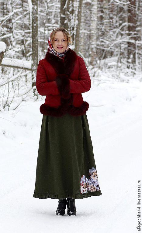 """Юбки ручной работы. Ярмарка Мастеров - ручная работа. Купить Длинная теплая юбка """"Елочка"""". Handmade. Тёмно-зелёный, фолк"""