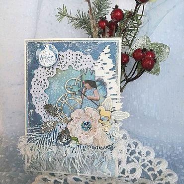 Сувениры и подарки ручной работы. Ярмарка Мастеров - ручная работа Открытка новогодняя Загадай желание. Handmade.