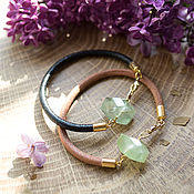 Украшения handmade. Livemaster - original item Bracelet with prehnite, leather bracelet green prehnite. Handmade.