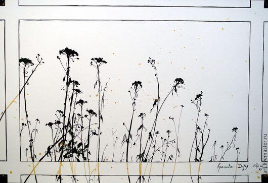 Картины цветов ручной работы. Ярмарка Мастеров - ручная работа. Купить Тишина. Handmade. Чёрно-белый, цветы, сухие цветы