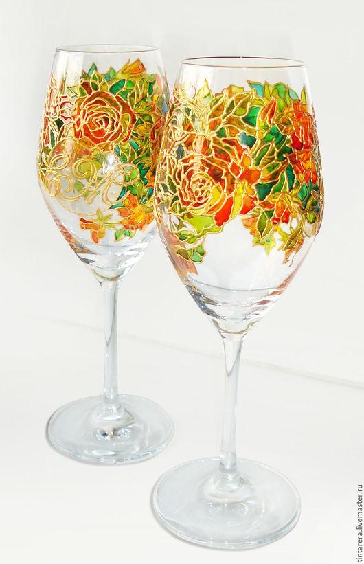 """Бокалы, стаканы ручной работы. Ярмарка Мастеров - ручная работа. Купить Бокалы """"Чайная роза"""". Handmade. Рыжий, розы"""