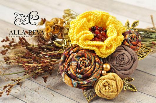 """Броши ручной работы. Ярмарка Мастеров - ручная работа. Купить Брошь """"Солнечный день"""". Handmade. Комбинированный, цветы из ткани, ткань"""