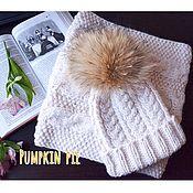 Аксессуары handmade. Livemaster - original item White set hat and cowl