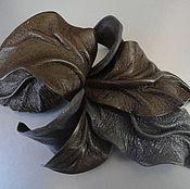 Украшения handmade. Livemaster - original item Brooch flower leather Orchid