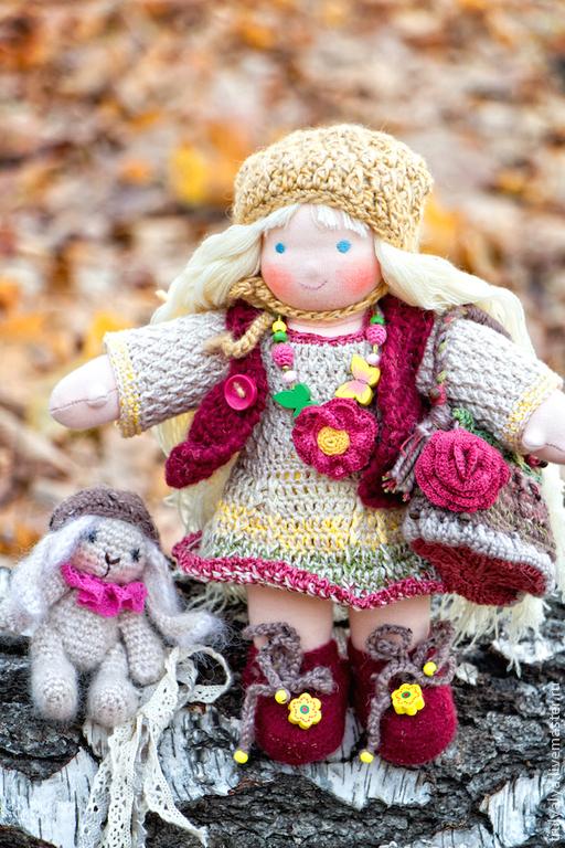 Вальдорфская игрушка ручной работы. Ярмарка Мастеров - ручная работа. Купить Кукла Оленька. Handmade. Оранжевый, текстильные куклы