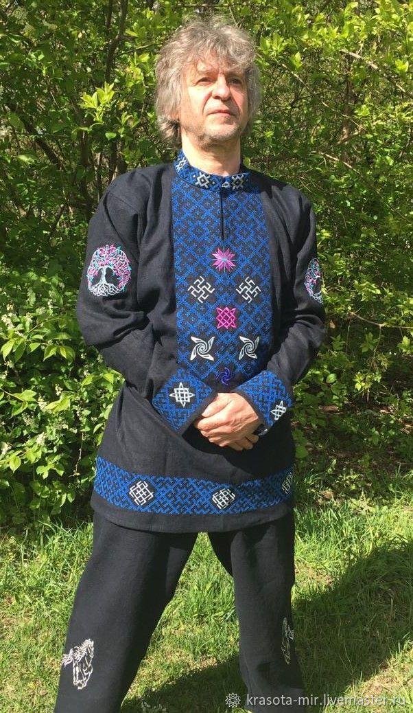 Комплект с обережной вышивкой штаны и рубаха Сокол, Народные рубахи, Санкт-Петербург,  Фото №1