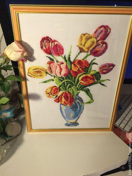 Картины цветов ручной работы. Ярмарка Мастеров - ручная работа. Купить Тюльпаны. Handmade. Рыжий, тюльпаны, 8марта, подарокмаме, подарокбабушке