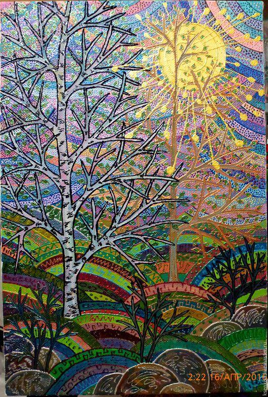 Картина маслом, холст, масло, объемные контуры, размер 40х60см. Весенний пейзаж в стиле зендудл.