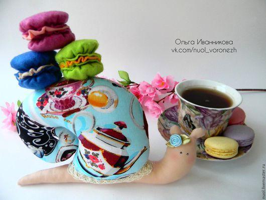 Куклы Тильды ручной работы. Ярмарка Мастеров - ручная работа. Купить Чайная Тильда Улитка. Handmade. Голубой, макарони, холлофайбер