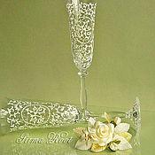 Свадебный салон ручной работы. Ярмарка Мастеров - ручная работа Свадебные бокалы Анжелика с монограммой. Handmade.