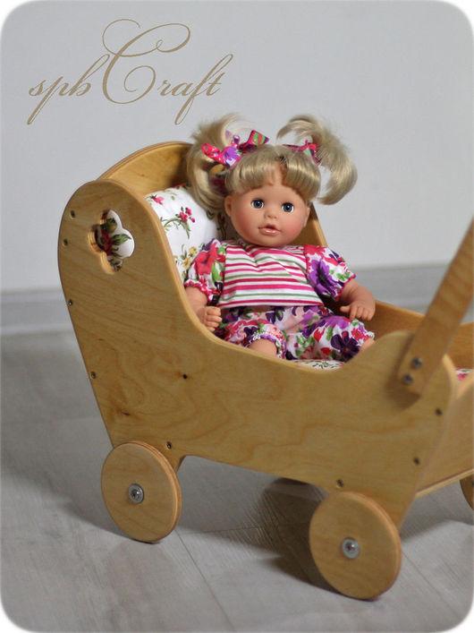 Кукольный дом ручной работы. Ярмарка Мастеров - ручная работа. Купить Коляска (макси) натура - коляска деревянная для кукол. Handmade.