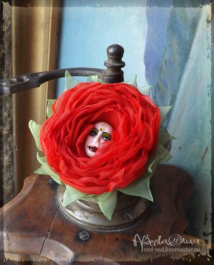 брошь, брошь цветок, брошь заколка, брошь красная, брошь из ткани, брошь в подарок