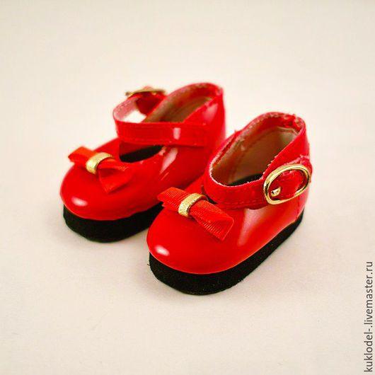Куклы и игрушки ручной работы. Ярмарка Мастеров - ручная работа. Купить Туфельки для кукол 69 красные 6 см. Handmade.