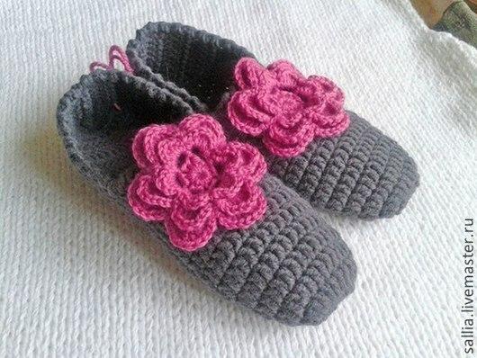 Обувь ручной работы. Ярмарка Мастеров - ручная работа. Купить Тапочки- балетки с цветком.. Handmade. Серый, тапочки домашние
