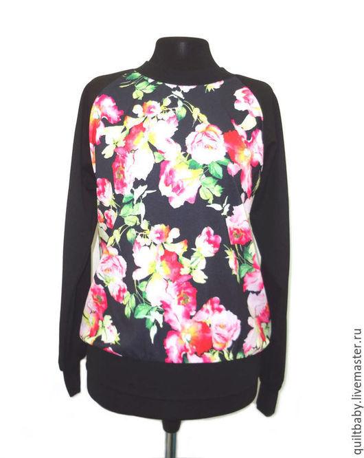 """Кофты и свитера ручной работы. Ярмарка Мастеров - ручная работа. Купить Свитшот """"Цветы на черном"""". Handmade. Черный, свитшот, блузка"""