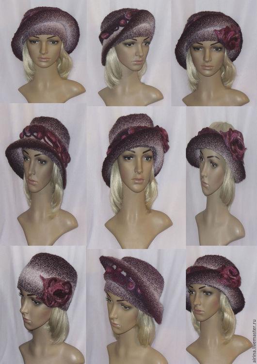 Шляпы ручной работы. Ярмарка Мастеров - ручная работа. Купить Шляпа-трансформер №300. Handmade. Бордовый, вязаная шляпа