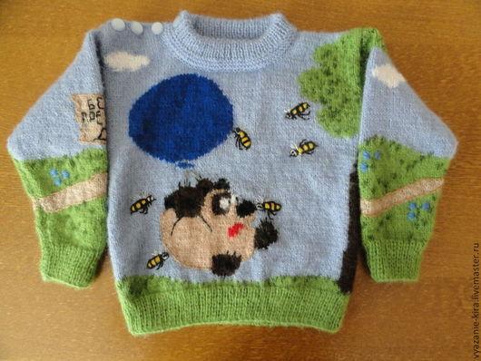 """Одежда унисекс ручной работы. Ярмарка Мастеров - ручная работа. Купить пуловер детский с рисунком.""""Винни -Пух"""". Handmade. Рисунок"""