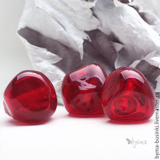 Бусины стеклянные для украшений бусины красные большие