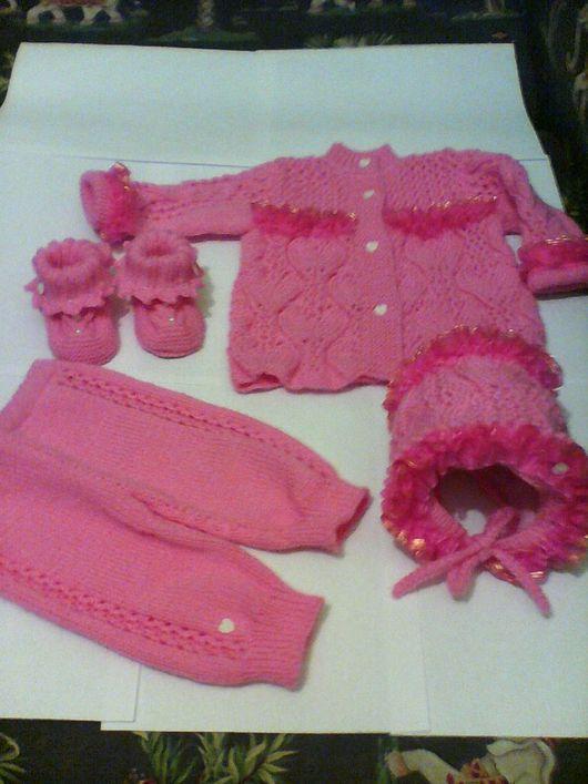Для новорожденных, ручной работы. Ярмарка Мастеров - ручная работа. Купить Вязаный костюм для новорожденной девочки.. Handmade. Вязаный костюм