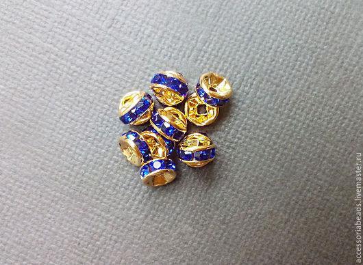 4 и 6 мм Рондели со стразами золотистые с синими кристаллами