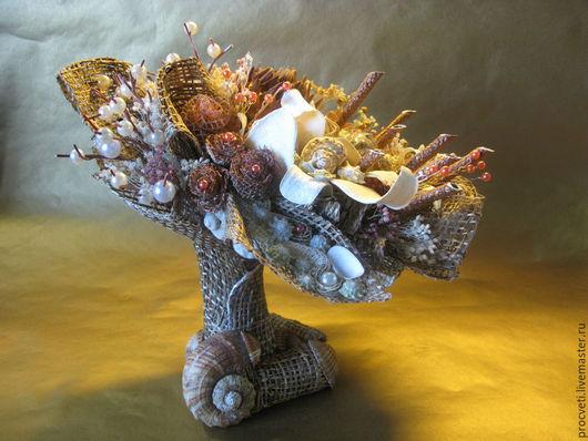 Интерьерные композиции ручной работы. Ярмарка Мастеров - ручная работа. Купить Океан - интерьерная композиция из натуральных материалов и сухоцветов. Handmade.