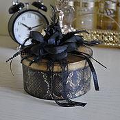 Для дома и интерьера ручной работы. Ярмарка Мастеров - ручная работа Шкатулка для украшений деревянная декупаж леопард черый роза. Handmade.