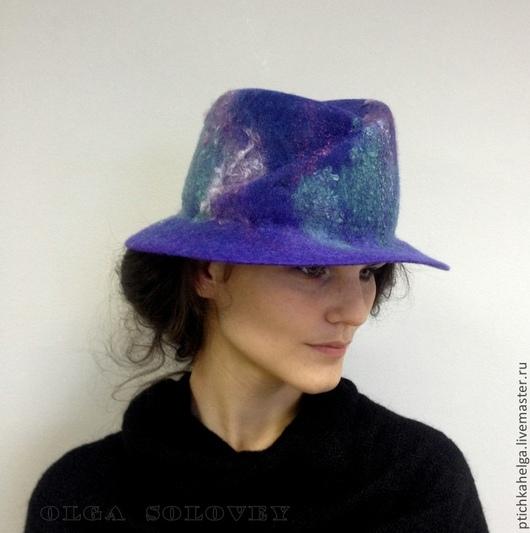 Шляпы ручной работы. Ярмарка Мастеров - ручная работа. Купить шляпа валяная ЛАВАНДА. Handmade. Тёмно-фиолетовый, Мокрое валяние